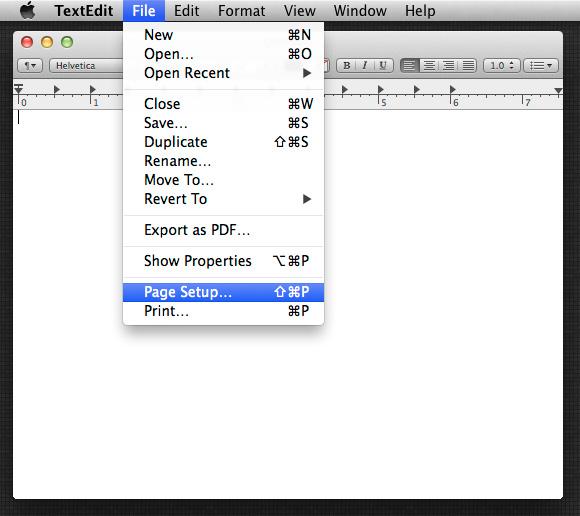 File > Page Setup