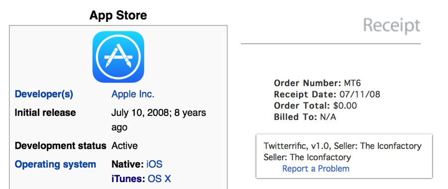 App Store initial release date (Wikipedia) and my first App Store purchase.
